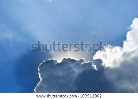 Stock Photo: blue sky with sun and beautiful clouds