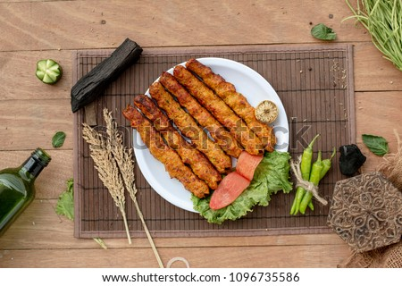 stock photo chicken mutton beef kebab on plate top view
