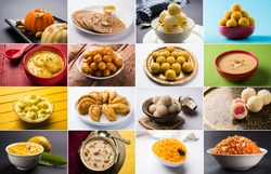 Stock photo collage of Indian sweets gulab jamun/Rasmalai/ Basundi/Angoori Rasmalai/Gujiya or Karanji/Kheer Kadam/Mango Srikhand/Kheer, Saffron Rice/Gajar Halwa, rasgulla/bundi, coconut & besan laddu