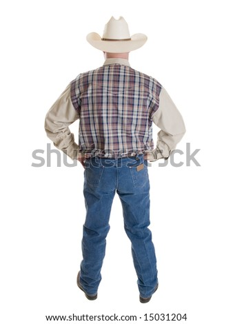 Stock photo of a cowboy isolated on white.