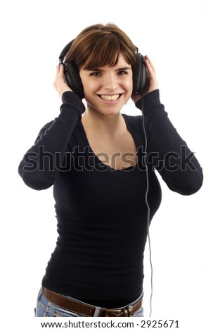 Stock photo of a pretty young woman listening music
