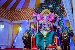 Stock photo of beautiful statue of Hindu god Ganesh Establishment of lord Ganesh during Ganpati festival in India.