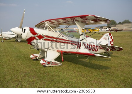 Stock photo of restored biplane at air show