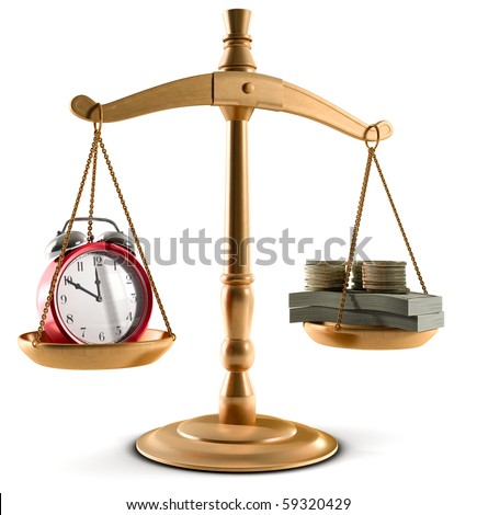 Stock Photo of Scales in equal balance holding a clock left on the and money on the right.