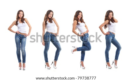 Stock photo of young, fit and sexy woman in jeans and white top isolated on white