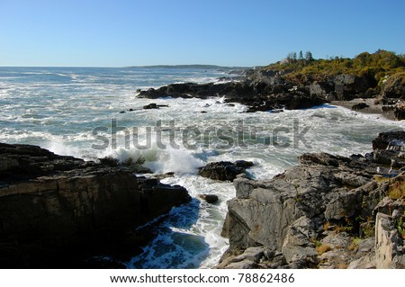 Stock Photo: Rocky Seashore in Portland, Maine, USA