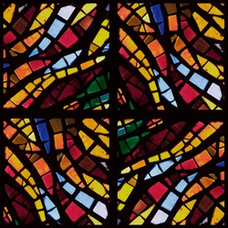 Stock photo - warm toned colorful stained glass church window in a kaleidoscope-like arrangement, square orientation