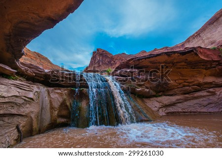 Stock Photo - Waterfall in Coyote Gulch part of Grand Staircase Escalante National Monument in southern Utah canyon country