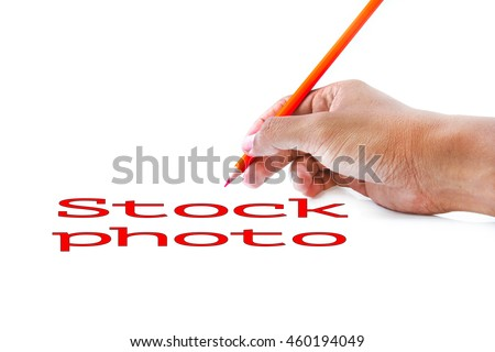 Photo of STOCK PHOTO word , hand writing concepts in white paper background