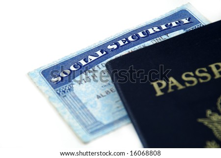 stock pictures of a social security card and a passport