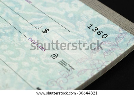 Stock pictures of checks used as a form of payment