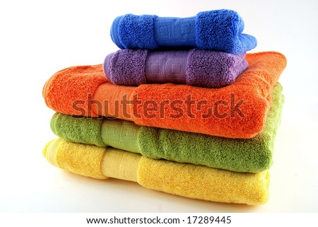 stock pictures of colorful bath towels stacked