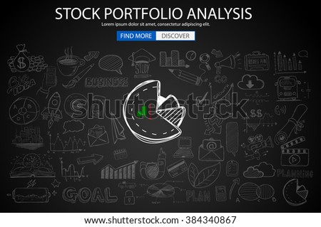 Stock PortfolioAnalysis  Concept with Doodle design style :finding solution, brainstorming, creative thinking. Modern style illustration for web banners, brochure and flyers.