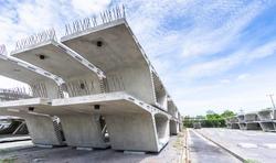 Stock precast segmental box girder bridge, Bridge construction, Concrete industrial factory, Express way project