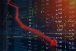 Stock price plummets with negative news and investment is lost in anger and frustration.  Copyspace room for text.