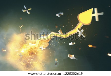 Stock price shoots up (3D Rendering)