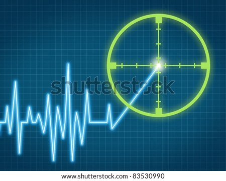 Stock price target aiming to buy the equity from an individual company at the right high price for a profit represented by a chart with crosshairs targeting the rising ticker symbol.