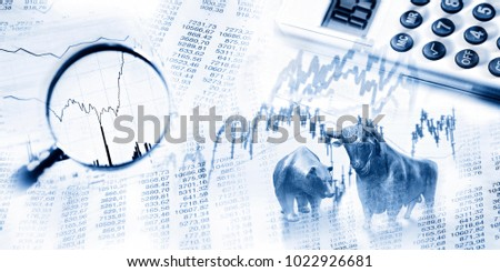 Stock quotes as list and graph, bull and bear, maginifier and calculator