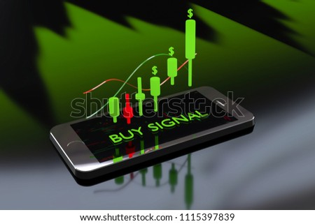 Stock Signal,Buy Signal, Mobile foreign exchange trading - 3d render illustrator
