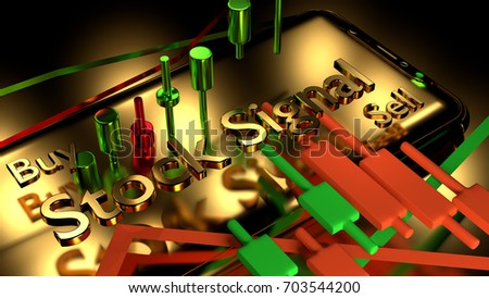 Stock Signal,Buy Signal, Sell Signal, Mobile foreign exchange trading - 3d render illustrator