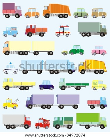 Stock Vector Illustration: Colorful cars and trucks raster illustration set