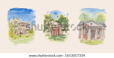 Stock watercolor paintings of old European houses ruins: glacier, crypt, villa. Isolated architecture sketches of Eastern European colorful buildings with black ink outline. Concept for souvenirs.
