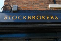 Stockbroker sign on a High Street