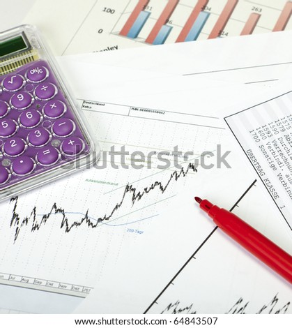 Stockcharts with Calculator and red pencil