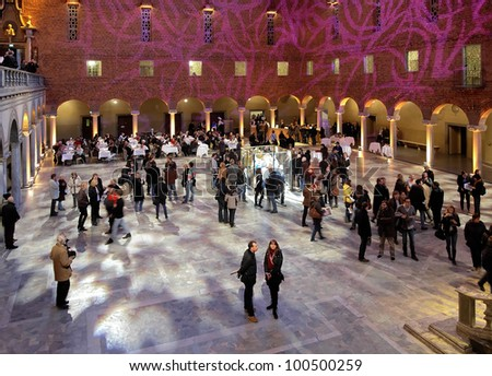 STOCKHOLM - APRIL 9: Blue Hall of the Stockholm City Hall during the Night of Museums on April 9, 2011 in Stockholm, Sweden. The Blue Hall is the venue of the Nobel Prize banquet.
