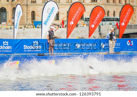 STOCKHOLM - AUG, 24: The start with swimming of the Mens ITU World Triathlon Series event Aug 24, 2012 in Stockholm, Sweden