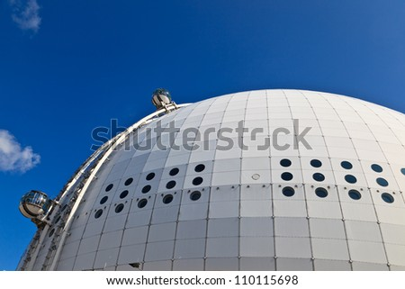 STOCKHOLM- AUGUST 5: Ericsson globe on August 5, 2012 in Stockholm, Sweden. It's currently the largest hemispherical building in the world, used for major concerts (Lady Gaga in Aug'12), sport events.