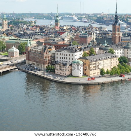 STOCKHOLM - AUGUST 17: Stockholm Old Town on August 17, 2012 in Stockholm. Stockholm is the capital of Sweden, it is the largest and the most populous city in Sweden, and it is located on 14 islands.