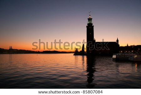 Stockholm City Hall - venue for the Nobel Prize ceremony - at sunset