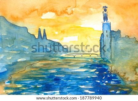Stockholm City Hall. Watercolor painting in naivistic style of Stockholm water bridge and city hall in national colors, blue and yellow.