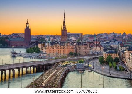 Stockholm. Cityscape image of Stockholm, Sweden during sunset. #557098873