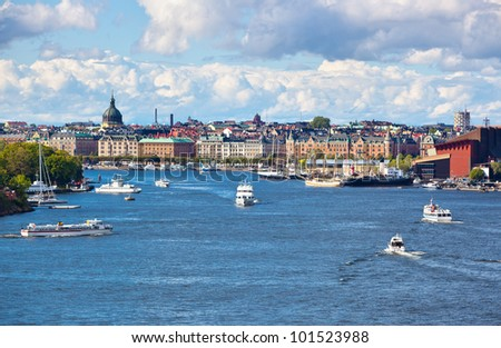 Stockholm cityscape view from sea.