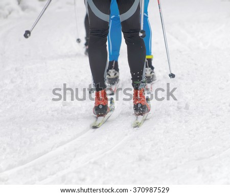 STOCKHOLM - JAN 24, 2016: Close up of speedy colorful skies, feet and legs of a cross country skiers at the Stockholm Ski Marathon event January 24, 2016 in Stockholm, Sweden #370987529