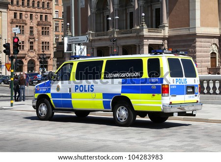 STOCKHOLM - MAY 30: Swedish Police vehicle on May 30, 2010 in Stockholm, Sweden. Swedish Police is one of oldest police forces in the world, dating back to 1776 and currently employs 28,500 people.