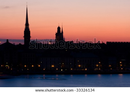 Stockholm Silhouette against the sunset sky.