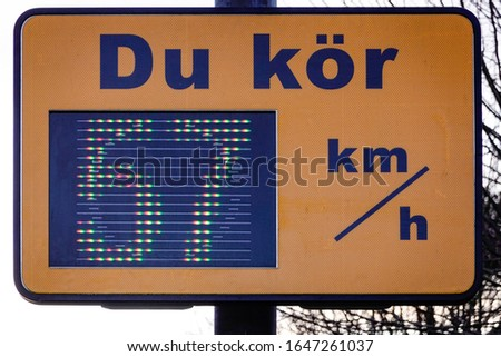 Stockholm, Sweden A speed sign telling drivers how fast they are driving in Swedish. 'Du kör' means 'Your speed.' Stock fotó ©