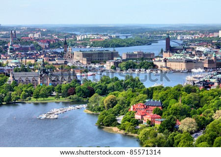 Stockholm, Sweden. Aerial view of famous Gamla Stan (the Old Town) and other islands, canals, landmarks. - stock photo