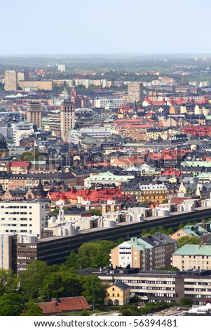 Stockholm, Sweden. Aerial view of Ostermalm district.
