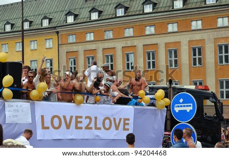 STOCKHOLM, SWEDEN - AUGUST 06:  Participants of the gay pride parade on August 06, 2011 in Stockholm, Sweden