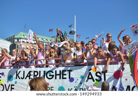 STOCKHOLM, SWEDEN - AUGUST 3: Stockholm Pride Parade 2013 on August 3, 2013 in Stockholm attracts 60000 participants and 600000 spectators.