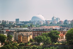 Stockholm, Sweden. Ericsson Globe In Summer Skyline. It's Currently The Largest Hemispherical Building In The World, Used For Major Concerts, Sport Events.
