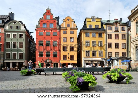 Stockholm, Sweden - 18 Juiy 2010. A lot of tourists is admiring the famous square Stor Torget which is really the heart of the Old Town and one of the most beautiful places in Europe.
