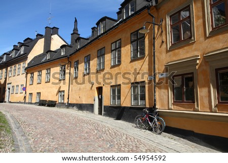 Stockholm, Sweden. Old architecture at Sodermalm island. Street view with bicycles.