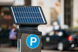 Stockholm, Sweden. Parking Machine Equipped With A Solar Battery For Recharging From Solar Energy Light. Electronic Payment That Issues A Permit To Parking Car