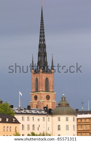 Stockholm, Sweden. Skyline of Riddarholmen island old architecture.