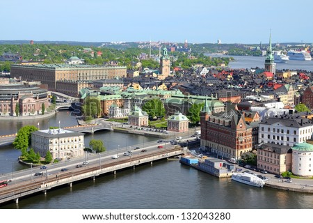 Stockholm, Sweden. View of famous Gamla Stan (the Old Town) on the right, Stadsholmen island.